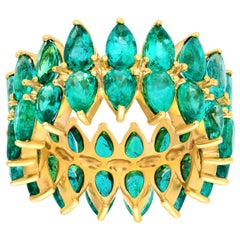 Araya 0.22 Carat Pear Shaped Zambian Emerald Double Eternity Ring