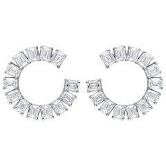 ARAYA 0.30 Carat Emerald Cut Diamond Classic Hoops in 18 Karat White Gold