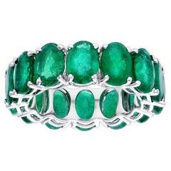 Araya 0.90 Carat Oval Zambian Emerald Classic Infinity Ring in 18 Karat Gold
