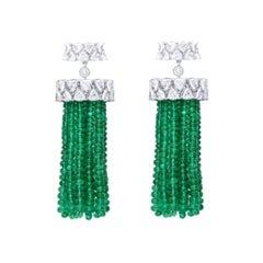 Araya 16.50 Carat Diamonds and Zambian Emerald Bead Chandelier Earring