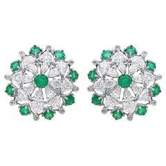ARAYA 18 Karat White Gold Zambian Emerald and Diamond Earrings