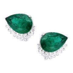 Araya 2.87 Carat Diamond Briolette and 26.48 Carat Emerald Pear Earring