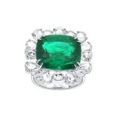 Araya 3.07 Carat Rose Cut Pear Diamond and 10.28 Carat Zambian Emerald Ring