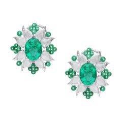Araya 3.76 Carat Diamond Rosecut Pear and 9.35 Carat Emerald Beads and Oval