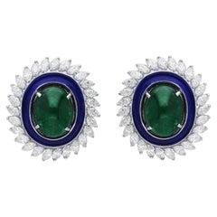Araya 4.23 Carat Diamond Marquise and 17.95 Carat Zambian Emerald Cabachons