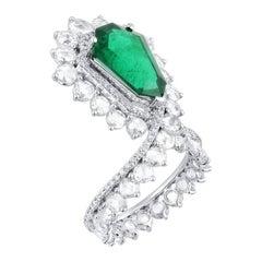 Araya 4.6 Carat Kite Shaped Emerald and Rose Cut Diamond Cocktail Ring