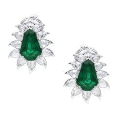 Araya 5.58 Carat Diamond Rose Cut Pear and 7.41 Carat Kite Emerald Earrings