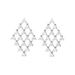 Araya 6.66 Carat Diamond Trillion Earrings Set in 18 Karat White Gold