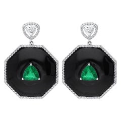 Araya Black Enamel Diamond and Zambian Emerald Trillion Earrings