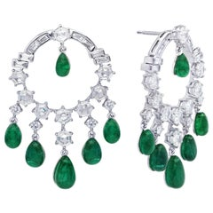 ARAYA Custom Cut Hexagon Diamond and Emerald Drop Earrings in 18 Karat Gold