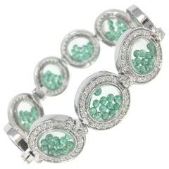 ARAYA Diamond and Floating Emerald Beads Bracelet in 18 Karat White Gold