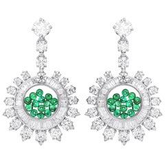 ARAYA Emerald and Diamond Earrings with Detachable 1 Carat GIA Diamond Studs