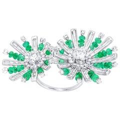 ARAYA GIA Diamond and Zambian Emerald Flower Ring in 18 Karat White Gold