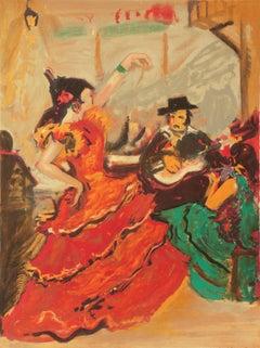 Flamenco Dancer   (Post-Impressionist, red, yellow, green)