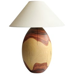 Bolivian Rosewood Lamp with White Linen Shade, Large, Árbol Collection, 6