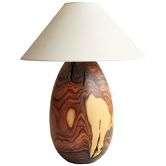 Bolivian Rosewood Lamp with White Linen Shade, Large, Árbol Collection, 8