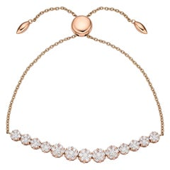Arc Adjustable Charm Bracelet 1.37 Carat 18 Karat Gold Chained Bracelet