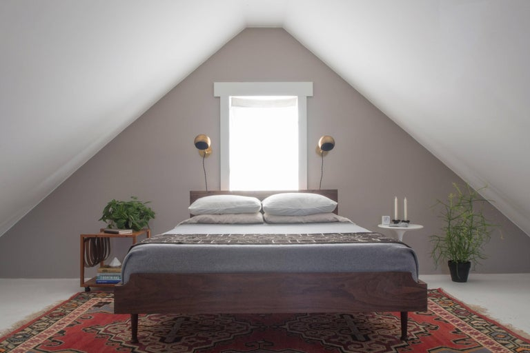 Arc Bed by Tretiak Works, Contemporary Handmade Walnut Queen Bed 5