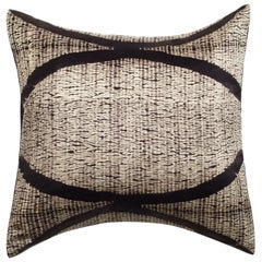 Arc Black Shibori Silk Pillow