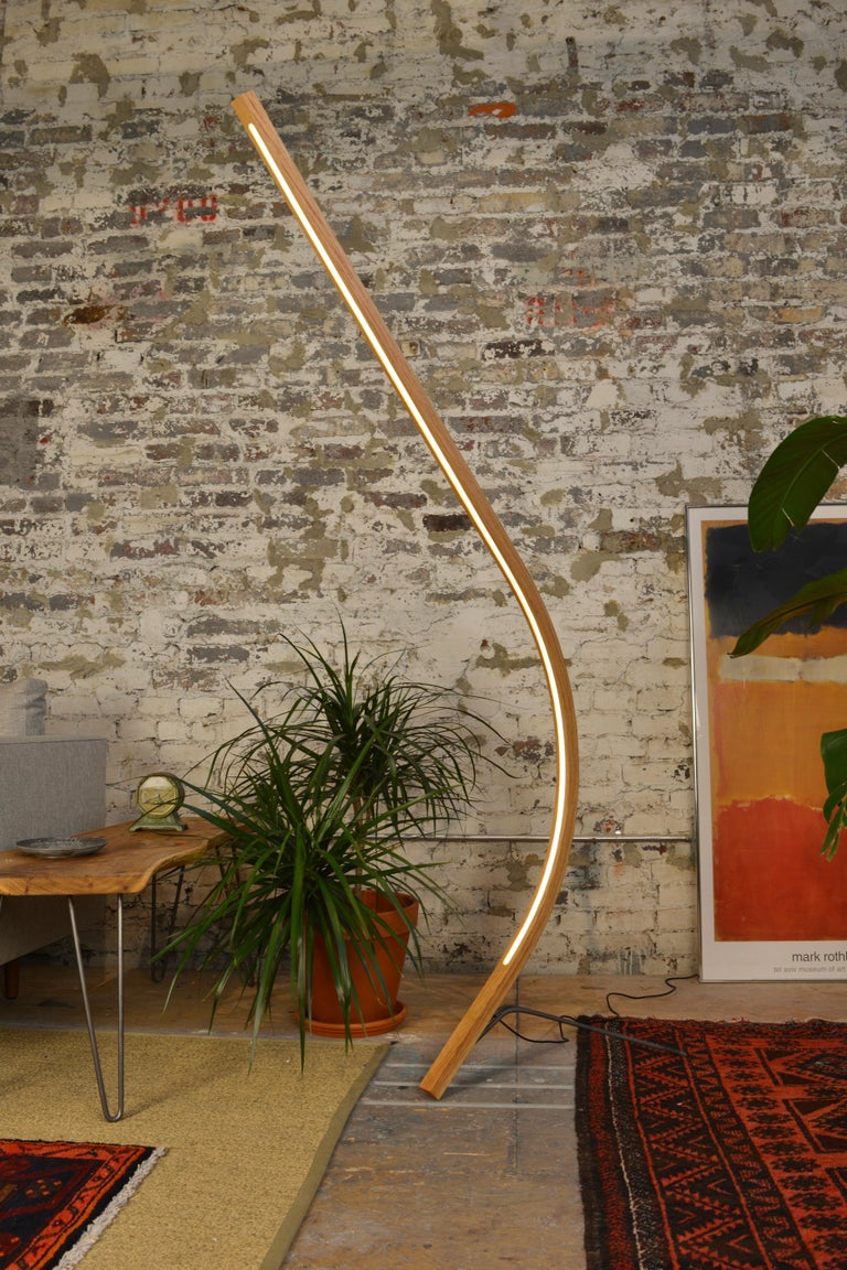 Arc Curved Wooden Led Floor Lamp For Sale At 1stdibs