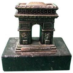 Arc De Triomphe Souvenir Building Metal and Marble Base, Paris, 1950s
