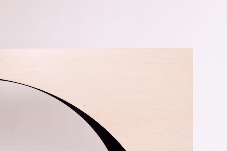 American ARC Desk in Bleached Maple Veneer and Black Stained Interior by Estudio Persona For Sale