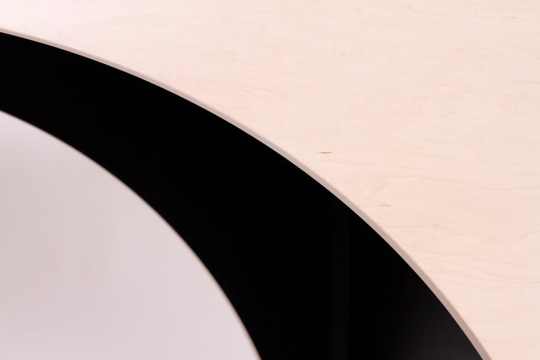 ARC Desk in Bleached Maple Veneer and Black Stained Interior by Estudio Persona In New Condition For Sale In Los Angeles, CA