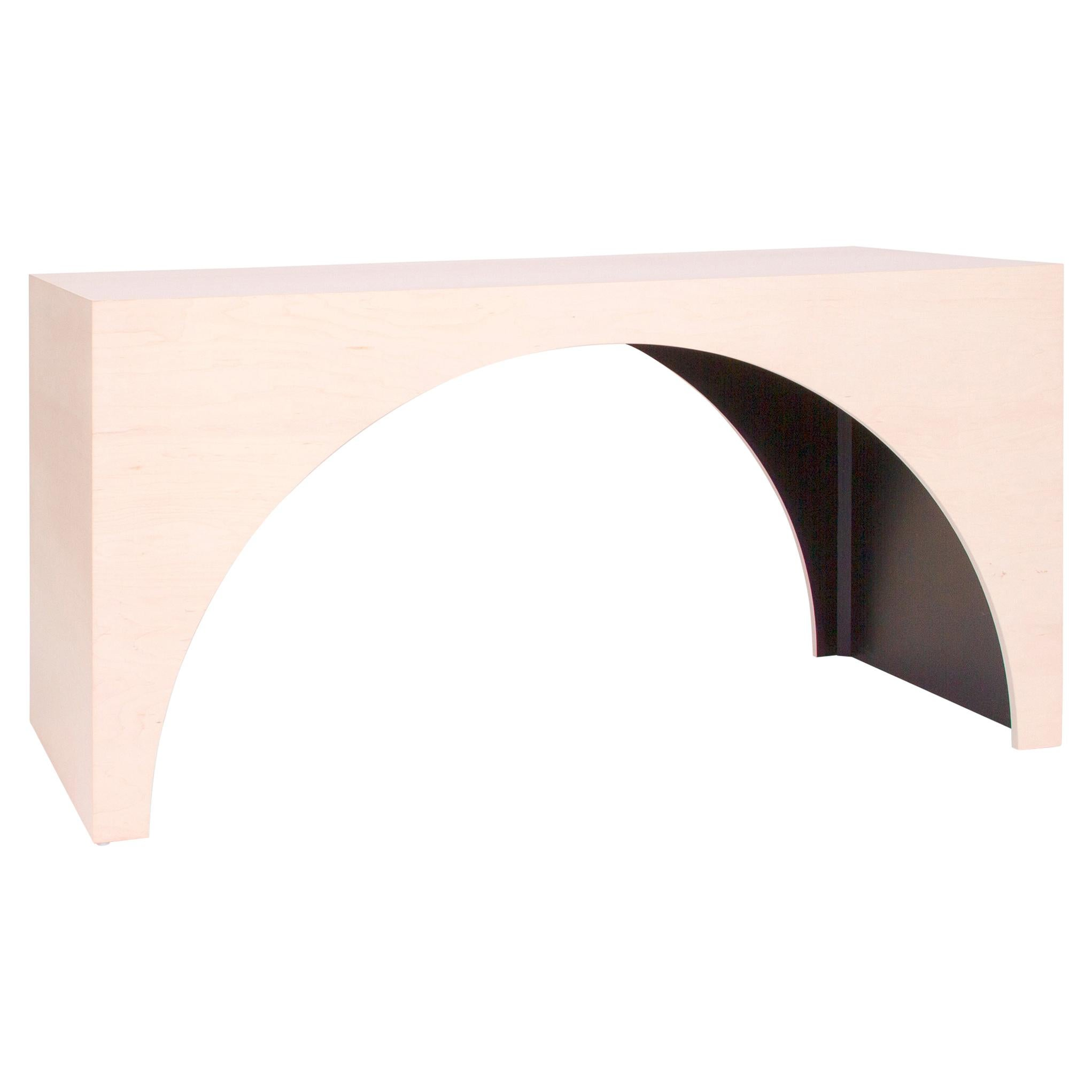 ARC Desk in Bleached Maple Veneer and Black Stained Interior by Estudio Persona