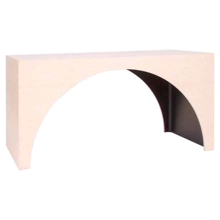 ARC Desk in Bleached Maple Veneer and Black Stained Interior by Estudio Persona For Sale