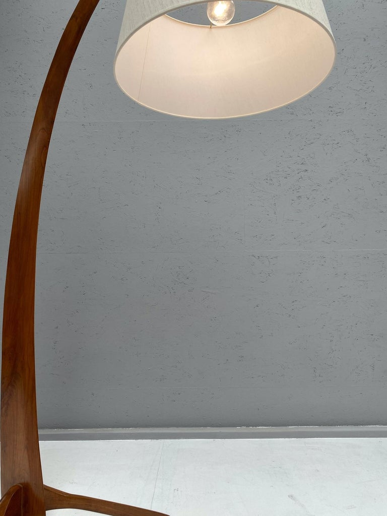 Wood Arc Floor Lamp in Style of J.T. Kalmar For Sale