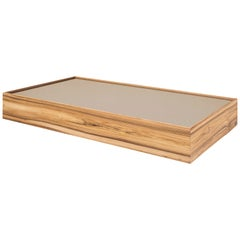 Arc Rectangular Coffee Table in Teak Featuring Bronze Glass Top