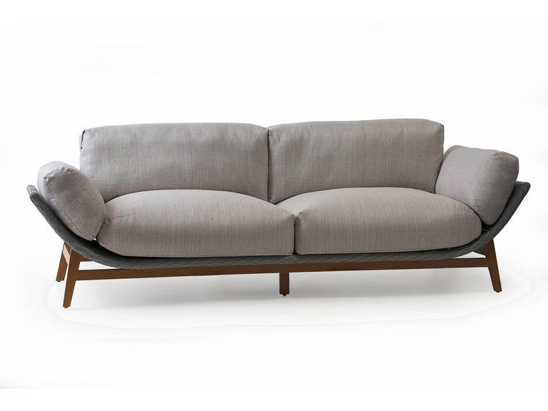 Arca Brazilian Contemporary Wood and Synthetic Fiber Outdoor Sofa by Lattoog