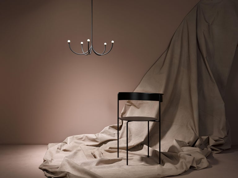 Modern Arca Small Chandelier in Blackened Brass with Satin Finish by Philippe Malouin For Sale