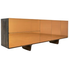 Arca Solid Hardwood Cabinet with Bronze Faces by Izm Design