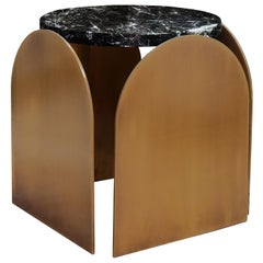 Arcade Brass and Marble Side Table