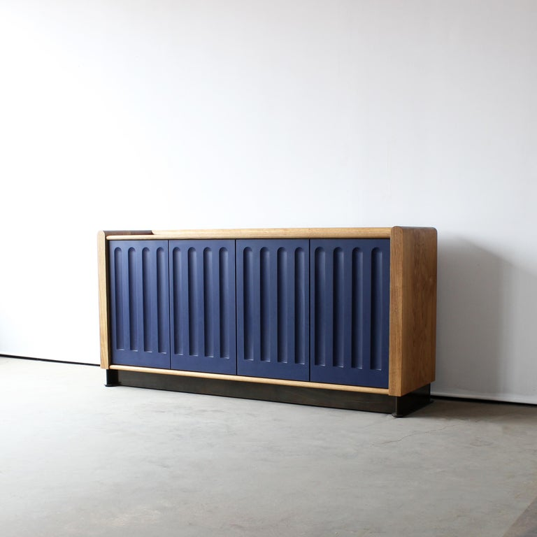Carved Arcade Modern Media Console, Sideboard, or Credenza by Crump and Kwash For Sale