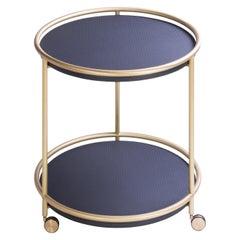 Arcade Round Brass Trolley Table