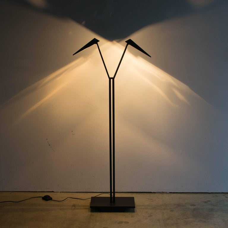 Floor lamp by Roverto Maracatti for Zeus. One arm with two lamp shades. Shade is movable within a little angles.