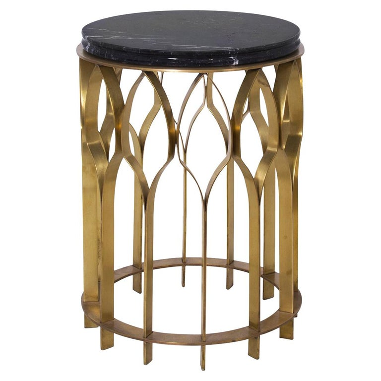 Arcade Coffee Table.Arcade Side Table Aged Brass And Marble Top