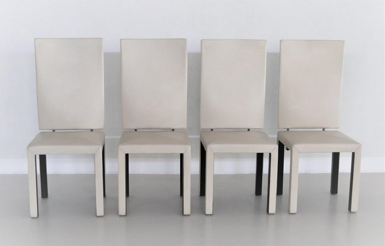 Arcadia Leather Chairs by Paolo Piva for B&B Italia, 1980s, Set of 4 For Sale 6