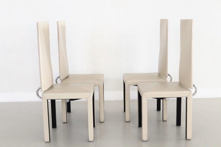 Arcadia Leather Chairs by Paolo Piva for B&B Italia, 1980s, Set of 4 For Sale 10