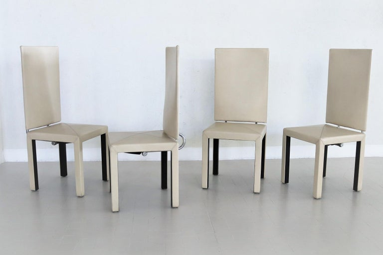 Arcadia Leather Chairs by Paolo Piva for B&B Italia, 1980s, Set of 4 For Sale 12