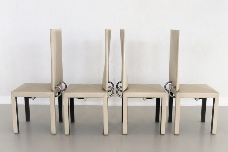 Mid-Century Modern Arcadia Leather Chairs by Paolo Piva for B&B Italia, 1980s, Set of 4 For Sale