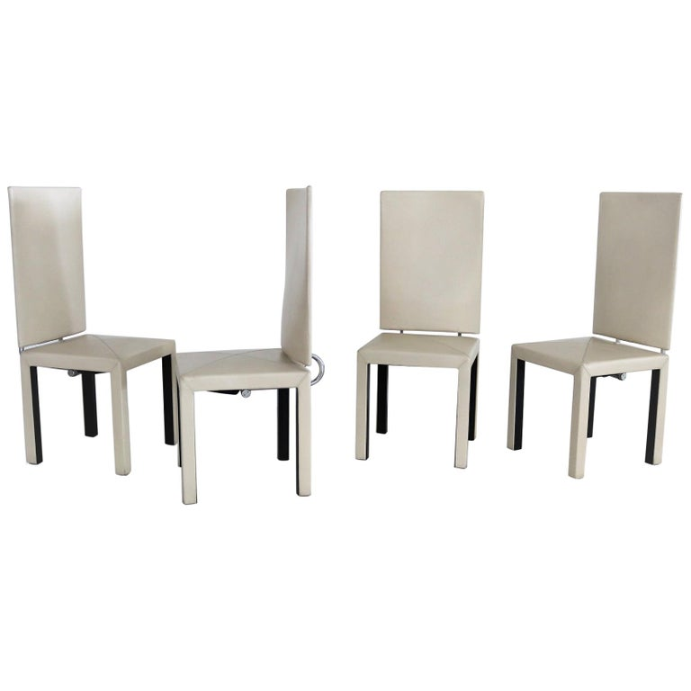 Arcadia Leather Chairs by Paolo Piva for B&B Italia, 1980s, Set of 4 For Sale