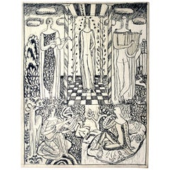 """Arcadian Scene with Lute, Lyre & Guitar,"" Detailed Art Deco Drawing by Ulreich"