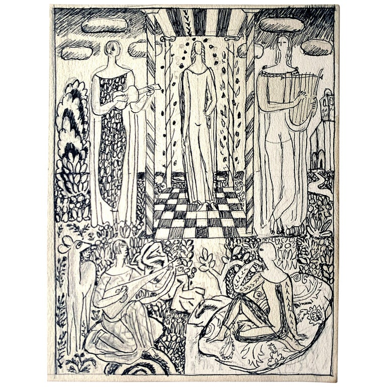 """Arcadian Scene with Lute, Lyre & Guitar,"" Detailed Art Deco Drawing by Ulreich For Sale"