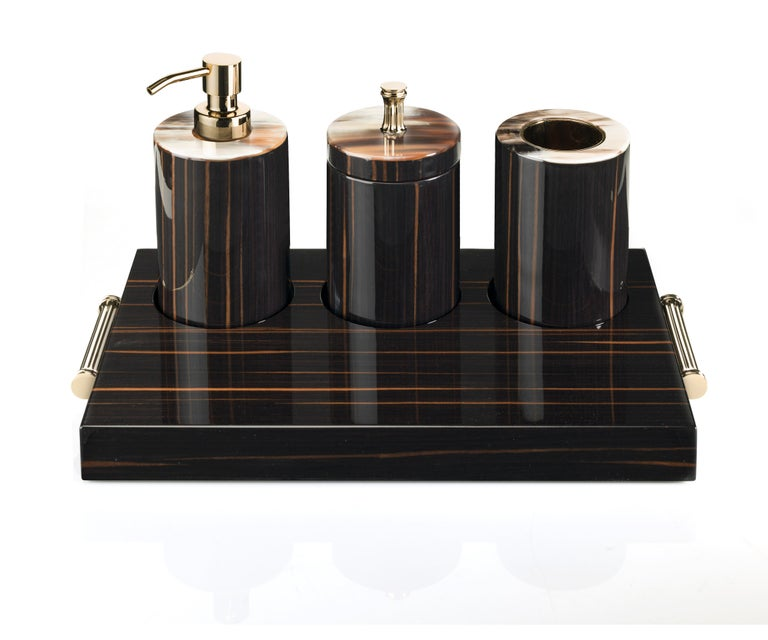 Italian Arcahorn Altea Tray in Macassar Ebony and Gold-Plated Brass by Filippo Dini For Sale