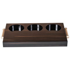 Arcahorn Altea Tray in Macassar Ebony and Gold-Plated Brass by Filippo Dini