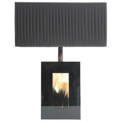 Arcahorn Black Lacquer Table Lamp with Horn Plates, Made in Italy