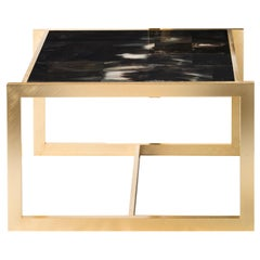 Arcahorn Gemini Large Table with Gold-Plated Brass Details by Filippo Dini